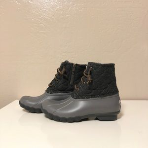 Sperry Saltwater Waterproof Rain Boots Grey Size 5